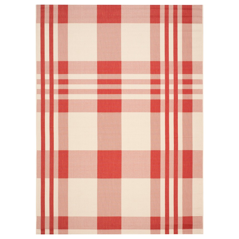 Siena 8' x 11' Outdoor Rug Red - Safavieh, Red/Ivory