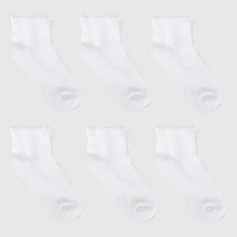 Girls' Casual Socks 6pk - Cat & Jack™ White - image 1 of 3