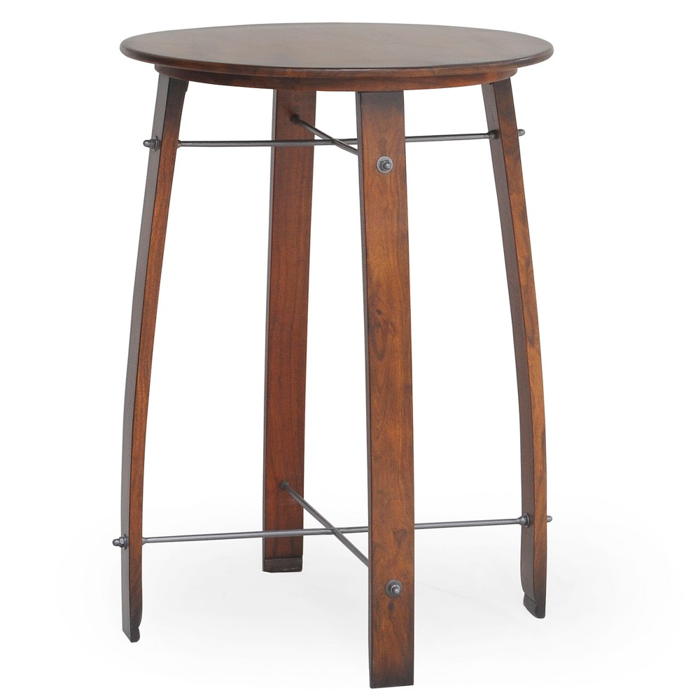 26 Rhett Barrel Round Pub Bar Chestnut Brown - Carolina Table