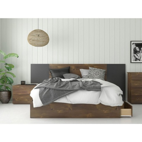 Queen 4pc Rubicon Platform Bed Set Truffle/Black - Nexera