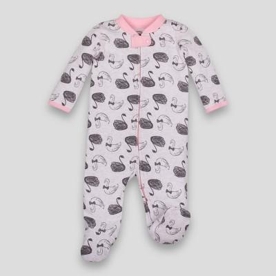 Lamaze Baby Girls' Organic Swan Print Waffle Thermal Sleep N Play - Gray 3M