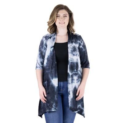24seven Comfort Apparel Women's Plus Tie Dye Open Front Cardigan