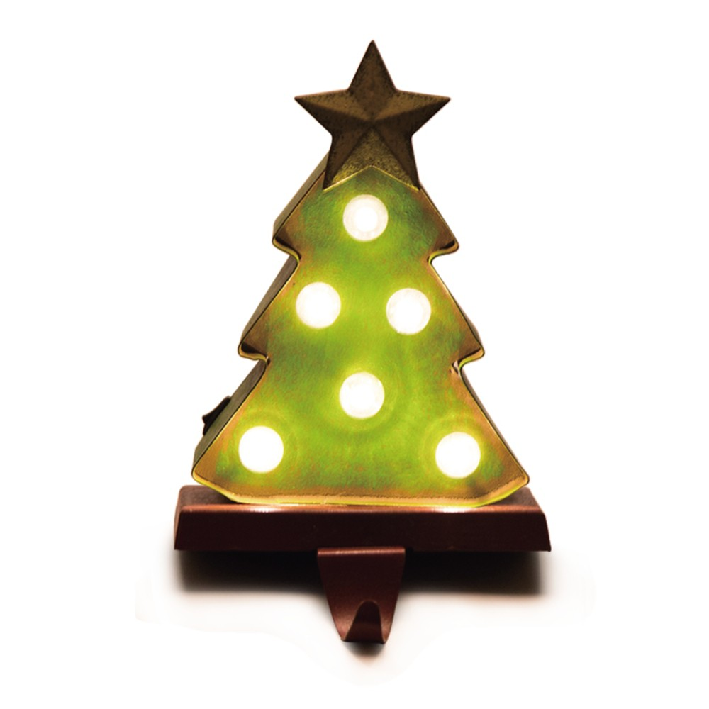Image of Marquee LED Tree Christmas Stocking Holder - Glitzhome
