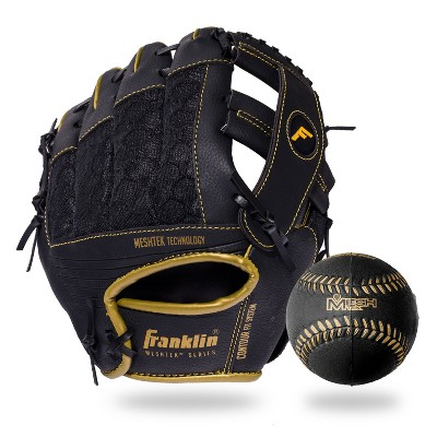 "Franklin Sports 9.5"" Black/Gold Mesh Batting Glove With Ball - Left Hand Thrower"