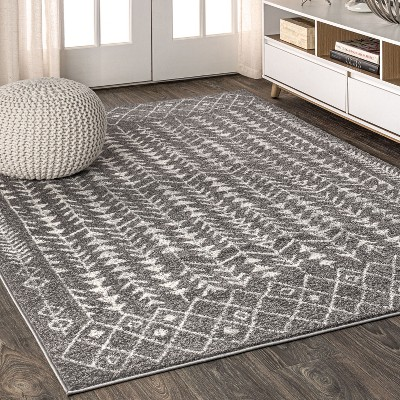 8'x10' Rectangle Loomed Trellis Area Rug Gray - JONATHAN  Y