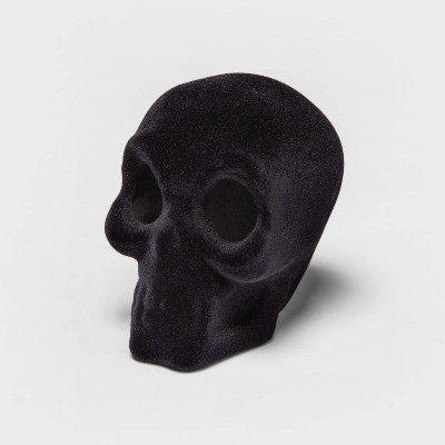 Small Flocked Black Resin Decorative Halloween Skull - Hyde & EEK! Boutique™
