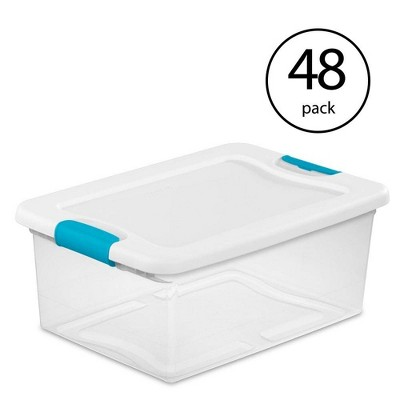 Sterilite 15-Quart Clear Stackable Latching Storage Box Container (48 Pack)