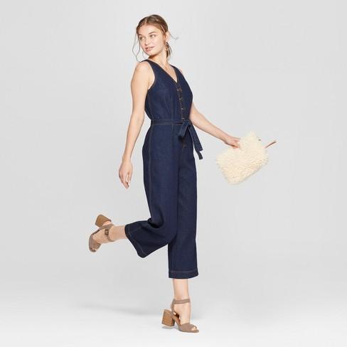 a5c491c62ff4b Women s Button Front Jumpsuit With Belt - Universal   Target
