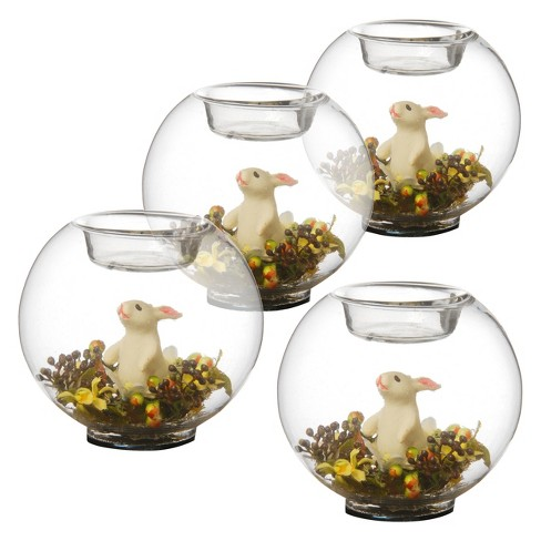Standing Bunny Glass Candleholder Clear/White 4pk - National Tree Company® - image 1 of 1