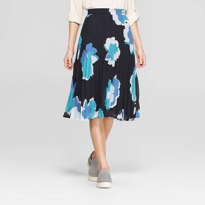 9a3e311cd Women's Floral Print Pleated Skirt – A New Day™ Navy L – BrickSeek