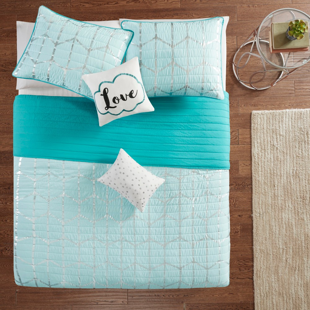 Image of 5pc Full/Queen Arielle Printed Coverlet Set Aqua/Silver