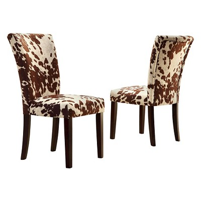 Set of 2 Quinby Parson Dining Chair Wood Brown Cowhide - Inspire Q