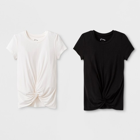 3bf46cd03be45 Girls  2pk Front Tie Knot T-Shirt - Art Class™ Black Cream   Target