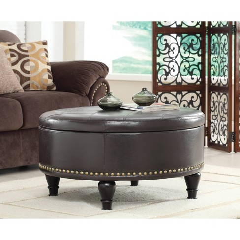 Augusta Storage Ottoman Bonded Leather, Round Storage Ottoman Coffee Table