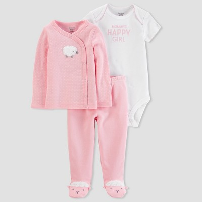 Baby Girls' 3pc Side Snap Tee Layette Set - Just One You® made by carter's Pink Sheep Newborn