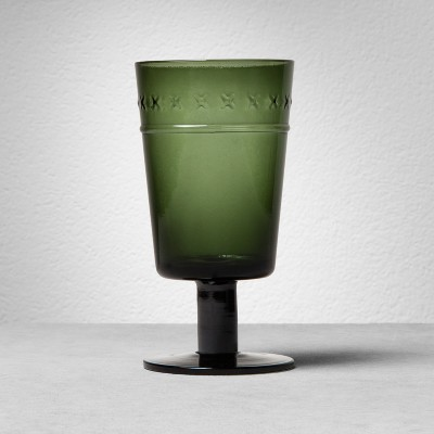 X-Patterned Glass Goblet - Green - Hearth & Hand™ with Magnolia