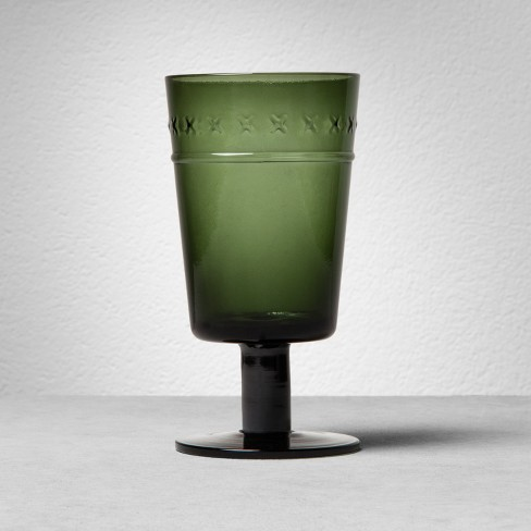X-Patterned Glass Goblet - Green - Hearth & Hand™ with Magnolia - image 1 of 3