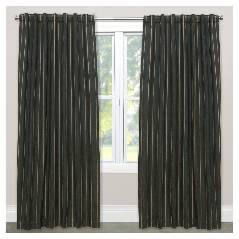 Window Curtain Panels Stripe Black (50