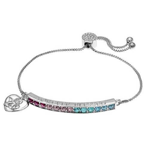 """Women's Adjustable Bracelet with Swarovski Crystal and Heart Charm in Silver Plate (8"""") - image 1 of 1"""
