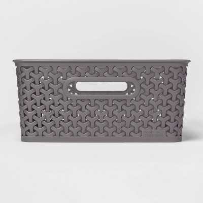 Y Weave Medium Rectangle Storage Bin Gray - Room Essentials™