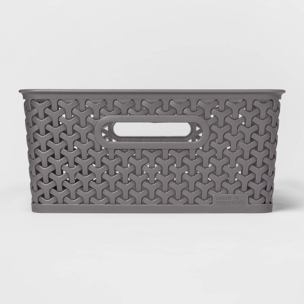 Y Weave Medium Decorative Storage Basket Gray Room Essentials 8482