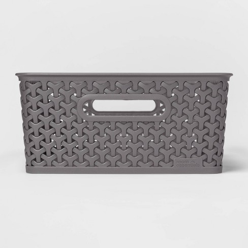 Y Weave Medium Rectangle Storage Bin Gray - Room Essentials™ - image 1 of 3