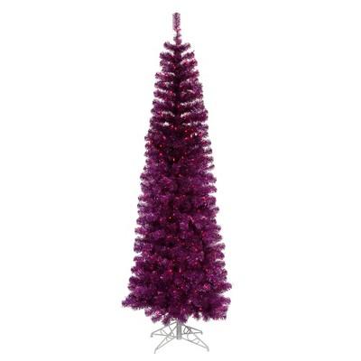 Vickerman 10' Prelit Artificial Christmas Tree Pencil Profile- Purple Lights