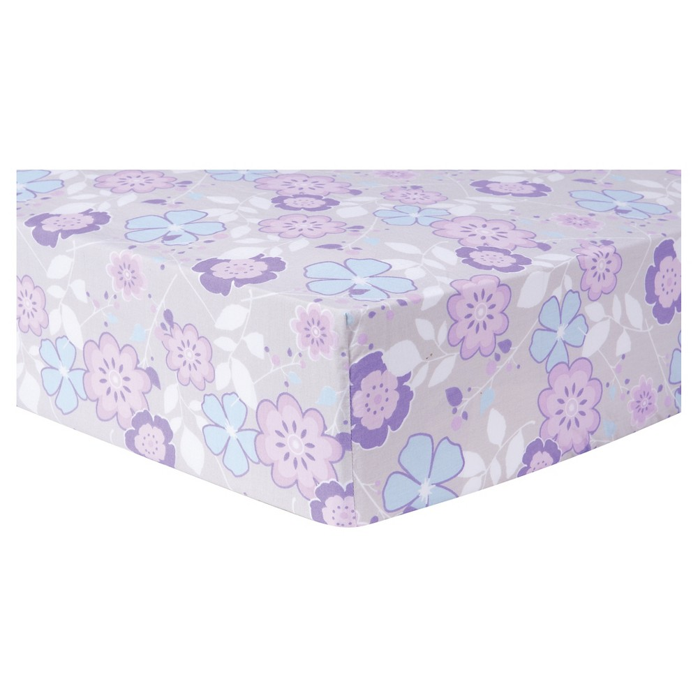 Trend Lab Fitted Crib Sheet - Grace - Lavender