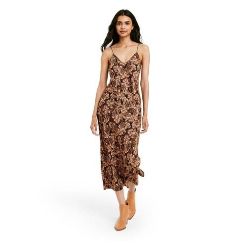 Women's Paisley Print Slip Dress - Nili Lotan x Target Brown - image 1 of 4