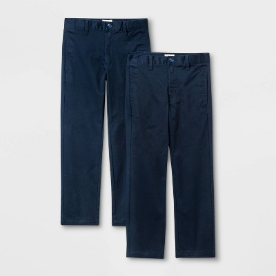Boys' 2pk Flat Front Stretch Uniform Straight Fit Pants - Cat & Jack™ Navy