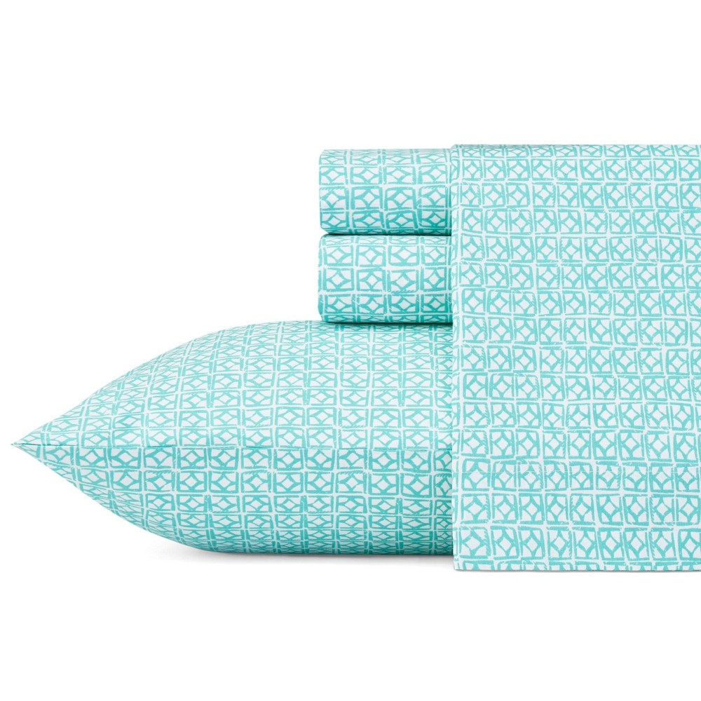 Image of Queen Printed Pattern Percale Slid Sheet Set Aqua Block - Trina Turk