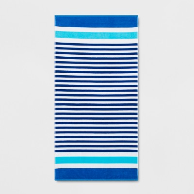 XL Stripe Beach Towel Blue - Sun Squad™