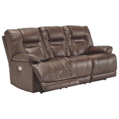 Wurstrow Power Reclining Sofa With Adjustable Headrest Umber Brown    Signature Design By Ashley