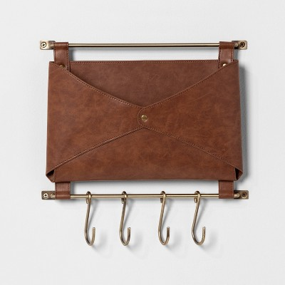 Entryway Metal Hook Rail With Leather Folio Brown - Threshold™