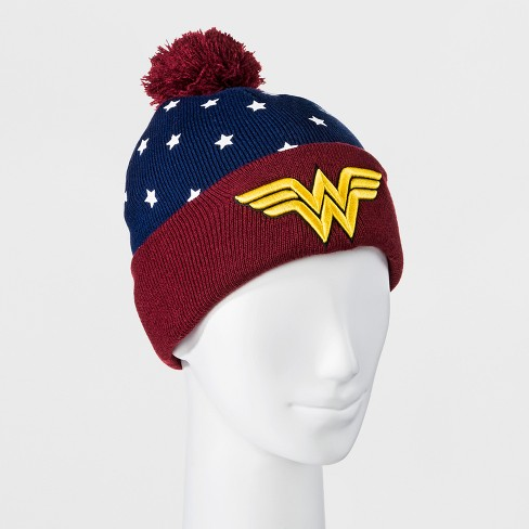 Men's Wonder Woman Beanie With Pom - Navy/Red - image 1 of 1