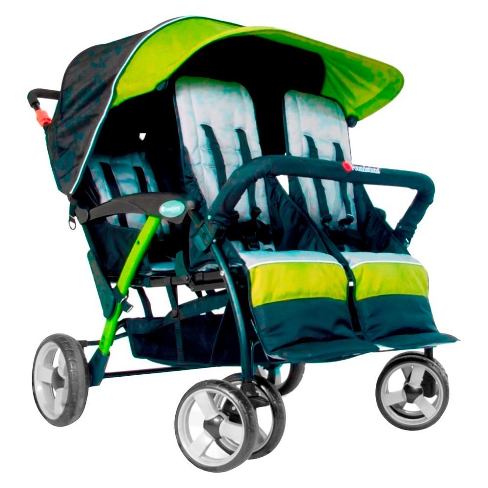 Image of Foundations Quad Sport 4 Passenger Stroller - Lime, Green