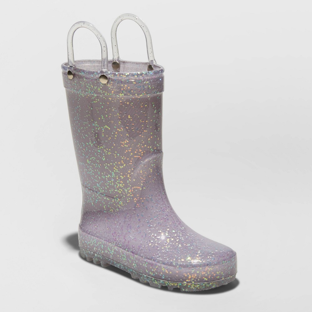 Image of Toddler Girls' Crystal Rain Boots - Cat & Jack Gray 5, Girl's
