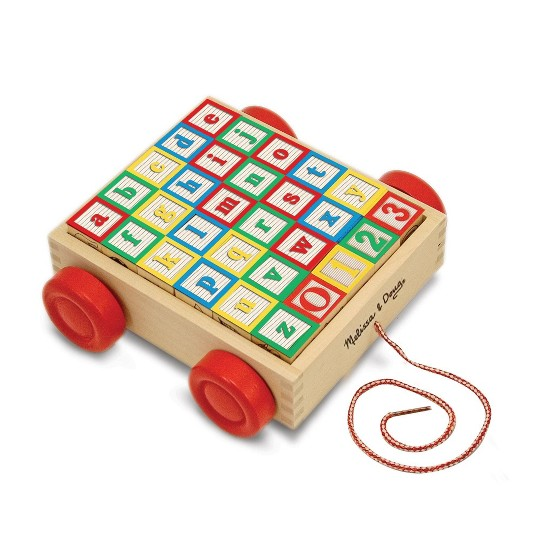 Melissa & Doug Classic ABC Wooden Block Cart Educational Toy With 30 Solid Wood Blocks image number null