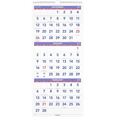 """Undated Wall Calendar 3 Month Reference 12""""x27"""" Vertical - At-A-Glance"""