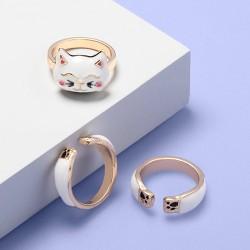 Girls' 3pk Cat Rings - More Than Magic™ White
