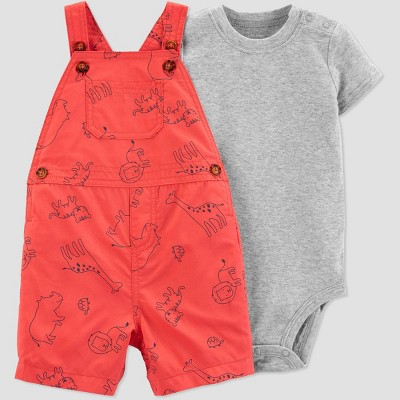 Baby Boys' 2pc Animals Shortall Set - Just One You® made by carter's Red/Gray 3M