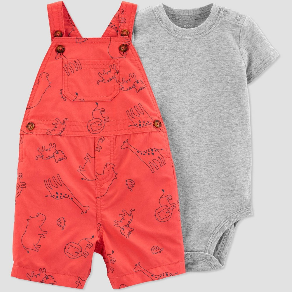 Baby Boys 2pc Animals Shortall Set Just One You Made By