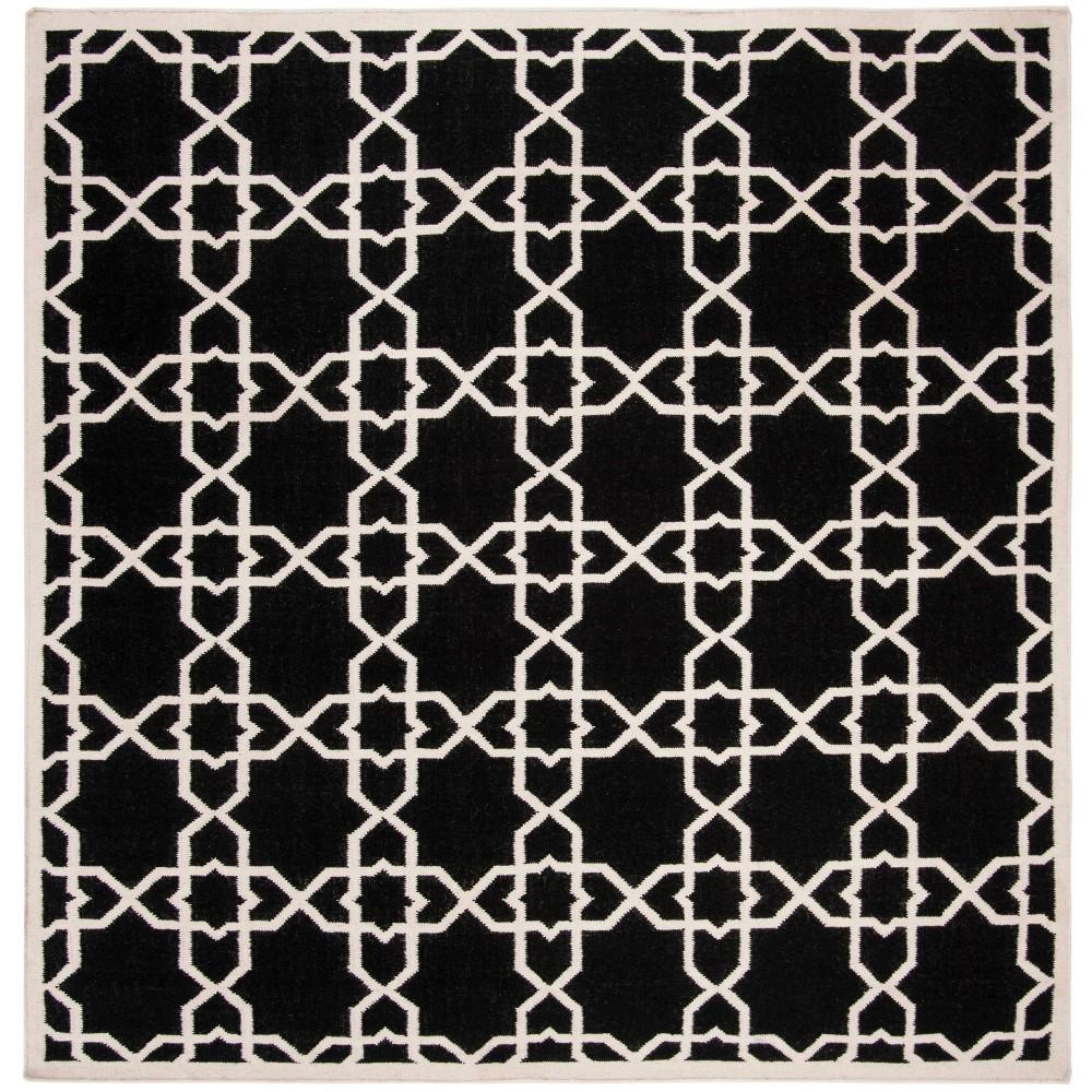 Tahla Dhurry Rug - Black/Ivory - (8'x8' Square) - Safavieh