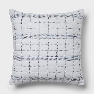 Euro Slub Plaid Throw Pillow White/Navy - Threshold™