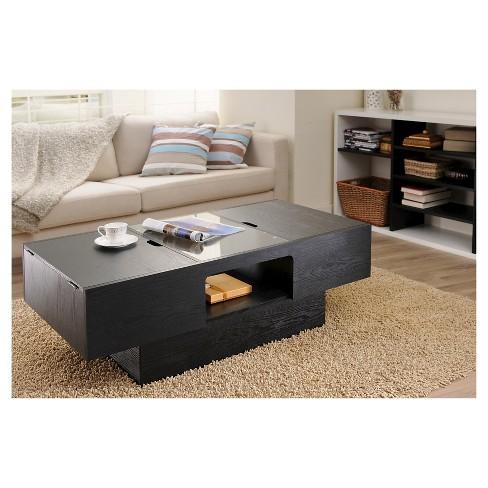 Kathline Modern Rectangular Coffee Table With Hidden Storage Black Homes Inside Out Target