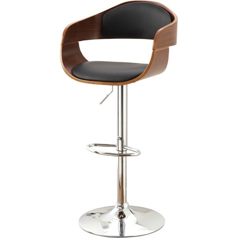 Ariana Adjustable Swivel Barstool Chrome Base Dark Oak/Black - ioHOMES - image 1 of 3