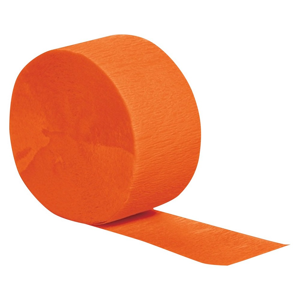 Sunkissed Orange Party Streamers Complete your birthday or holiday party decorations with these colorful Crepe Streamers. Drape from the ceiling, tape to the wall or hang them in doorways — the only limit is your imagination. And with 13 different colors, there's a party streamer to match any theme or color scheme. Color: Orange. Age Group: Adult.