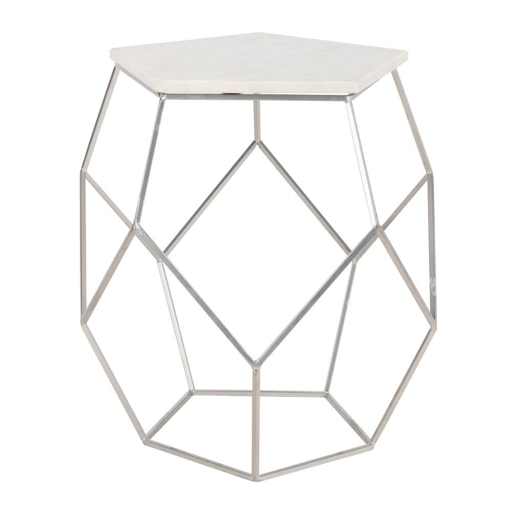 Modern Pentagon Marble Top Side Table Silver - Safavieh