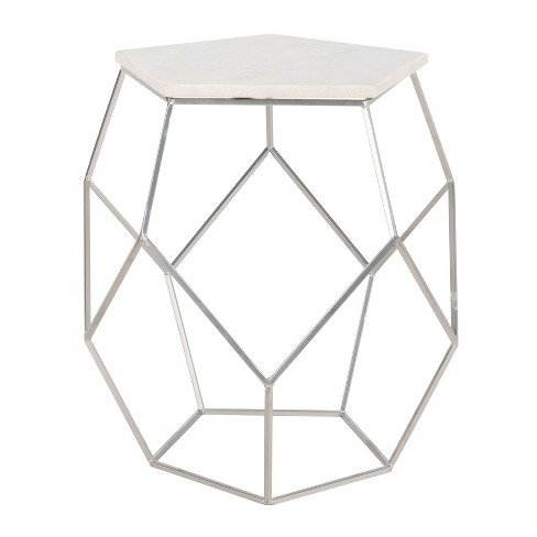 Modern Pentagon Marble Top Side Table Silver - Safavieh - image 1 of 4