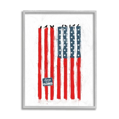 Stupell Industries American Flag Birds on Wall Political Statement